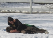 Grappling in the snow