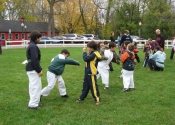 Children's Karate class on a Saturday morning outside training - Baie d'Urfé