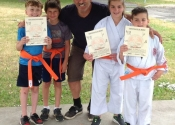 Diego, Noah, Christiana, Harrison. four new orange belts at our Dojo. June 27, 2020. Beaconsfield Recreation Center. Tokon Dojo, Karaté-do, Jiu-Jitsu and Bully-proofing.