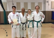New green belts: Benjamin, Sian, Bruce, June 2016