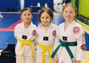 Belt level promotions. These girls worked hard to reach their goal. Congratulations. Dec. 8, 2018