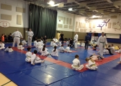 Training at the Beaconsfield Recreation Centre - Saturday parent/child bully-proofing & Karate class. Dec. 2017