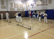 Saturday morning training at the Beaconsfield Recreation Centre - teen and adult karate and Jiu-Jitsu class. Feb. 2018