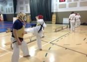 Saturday morning training at the Beaconsfield Recreation Centre - teen and adult karate and Jiu-Jitsu class. Feb. 2018