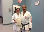 Coralie passes her yellow belt level. Bravo! May 24, 2018. Beaconsfield Recreation Centre.