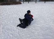 Not easy grappling in the snow with all that gear on. We were blessed with the beautiful Canadian weather. Beaconsfield Recreation Centre, Montreal, Qc. November 2018. www.manoli.ca       Michel and Paul