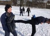 Side kick. Karate and JiuJitsu class outside. Beaconsfield Recreation Centre, Montreal, Qc. November 2018.