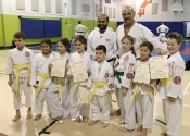 Our new yellow belts and green belt. Hard work pays off. Dec. 8, 2018. Beaconsfield Rec. Center.