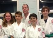 New 3rd Kyu green belts at the Beaconsfield Recreation Centre. Congratulation to Sara-Maude S., Charles-Antoine S., Paul S., Antoine L. & Paul H