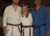 Carl, Annie & George After receiving their Brown belt - Club de Judo Anjou