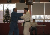 Simon presenting his throws during his green belt exam - George is his Uké