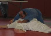 George presenting immobilisations on floor - Brown belt exam - Club de Judo Anjou