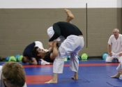Daniel grappling with V. Lavoie during seminar at our Dojo