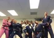 Some bad ass fighters....crazy bunch of guys. A true gem of a school. Master Almeida and his students at the Palm Beach Gardens BJJ Martial Arts Club, Florida. January 2018