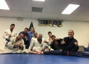 Palm Beach Garden BJJ club, Florida. The club is preparing to compete this Saturday. Full class of rolling. Five and ten minute rounds. What a joy, got my 'ass handed to me' several times by their outstanding black belts. Professor Almeida runs a great club. Thank you for the warm welcome.