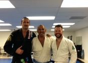 Day 3 in my Jiu-Jitsu vacation. Rolling during open mat with professor Andy and Mike from Ireland. Great tips and guidance from professor Andy. A force to reckon with, but a true gentle giant using little energy to control and dominate us.