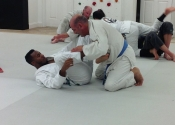 Getting out of the guard. Not as easy as it looks. Palm Beach Garden BJJ, Florida. Dec. 2018.
