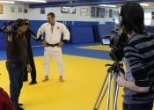 Filming for Avis De Recherche TV with Nicolas Gill (Judoka) & Jessica Leblanc, 'Défense légitime'