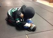 Knife attack, blind folded - huge stress factor. Villa Maria High School, December 2017. Manoli's hands-on women's Self-defence course. Montreal, Quebec