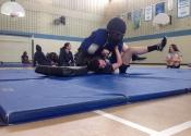 Marie Clarac Girls high school, March 2018. Hands-on Self-defence course. Ground attacks. Empowerment through scenario based training. Manoli.ca