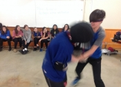 Collège de Montreal, hands-on, self-defence workshop for boys and girls. Secondary 1-5. Ground attacks. The legs and their devastating power. What determination, what attitude. Excellent work done by all. November 2018.