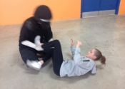 Collège de Montreal, hands-on, self-defence workshop for boys and girls. Secondary 1-5. Ground attacks. Hip escape to make room for the legs and their devastating power. . What determination, what attitude. Excellent work done by all. November 2018.