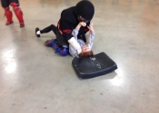 Collège de Montreal, hands-on, self-defence workshop for boys and girls. Secondary 1-5. Ground attacks. He mounts and chokes her. What determination, what attitude. Excellent work done by all. November 2018.