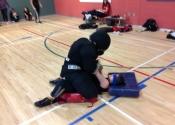 Shawinigan, Qc. Women's 'hands-on' self-defence workshop. Ground fighting, blind folded. Nov. 29, 2019