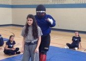 Marie Clarac high school for girls. Women's self-defence course. Approaching his victim. May, 2018