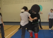 George attacking front at Marie Clarac 2014 assault prevention