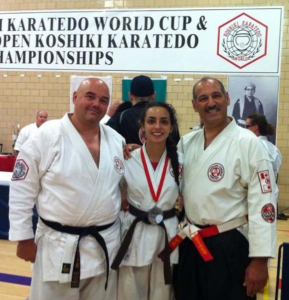 Sempai Marc Martin, Dina Khalesi Taharom, Sensei George Manoli at the Koshiki World cup event in Toronto